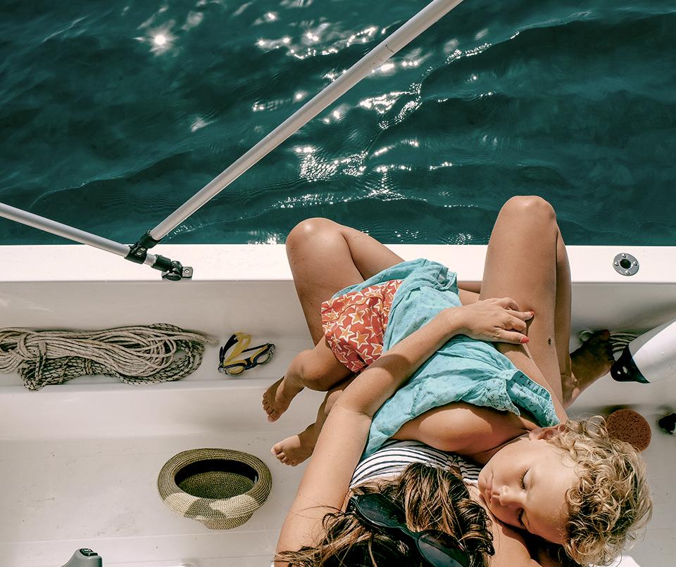 bateau mère enfant lac