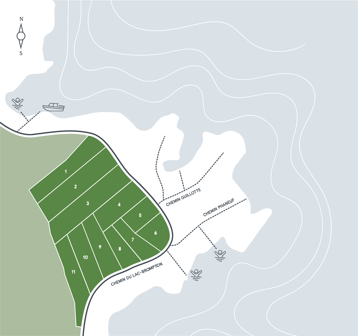 carte terrains lac brompton